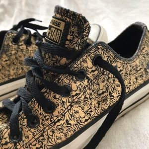 CONVERSE gold tiger print black low top sneakers 6